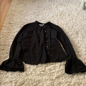 Frame black button up blouse size xs ruffle sleeve